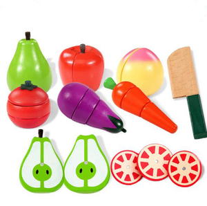 wooden cutting toys fruit set kids pretend playing kitchen toys