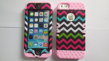Mobile Phone Hard Plastic Cover Rubber Silicone Skin 3 in 1 Hybrid Case for Apple iPhone 5 5S