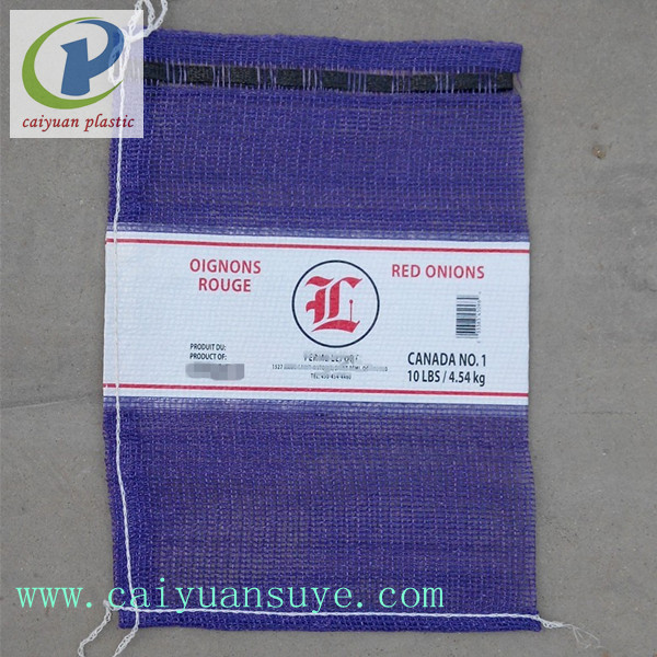 caiyuan top sale cheap pp laminated woven bags leno mesh bag purple color for packing onion potato
