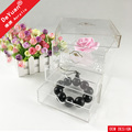 Clear Acrylic Flower Box With Two Drawers For Gift