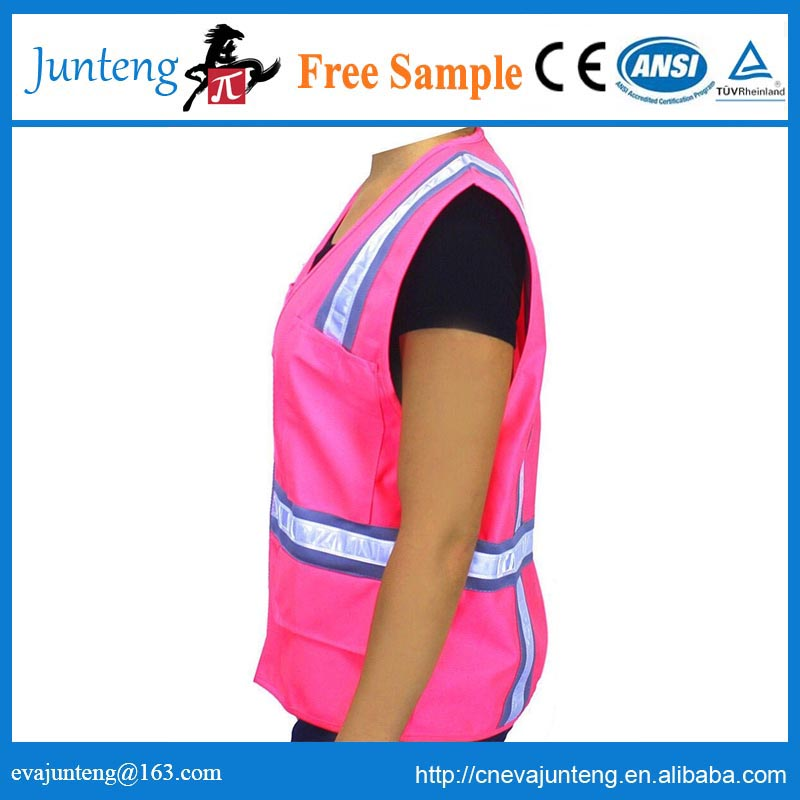 women pink safety vests with zipper and pockets