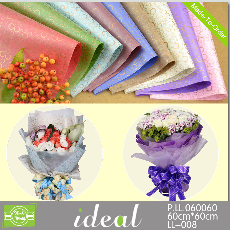 2015new wholesale printed waterproof paper for wrapping flower