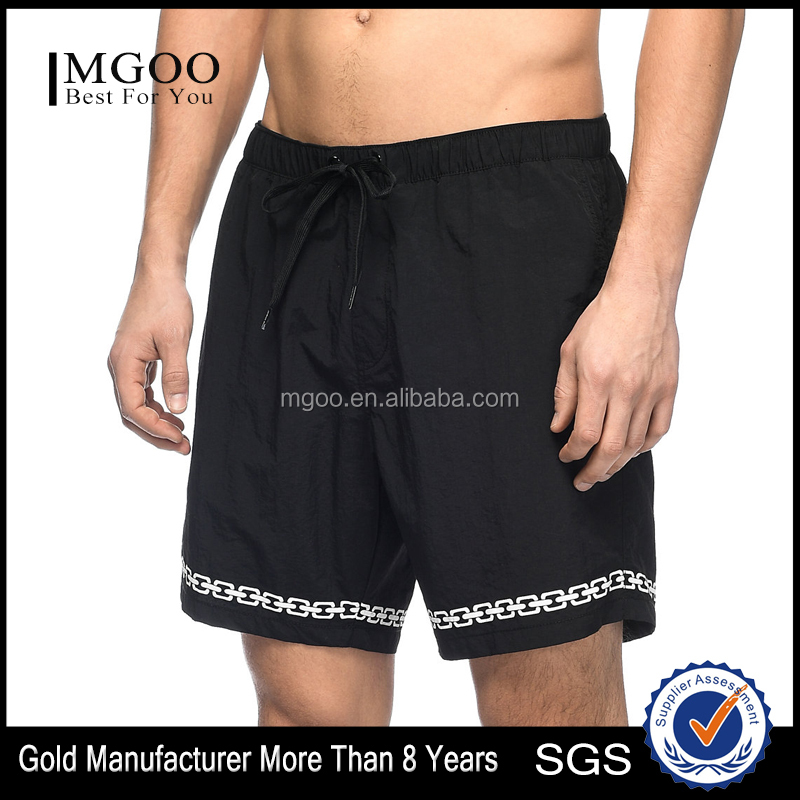 Black And White Nylon Elastic Waist Board Shorts Customize Chain Link Screen Print Graphics Swim Shorts 100% Nylon Zipper
