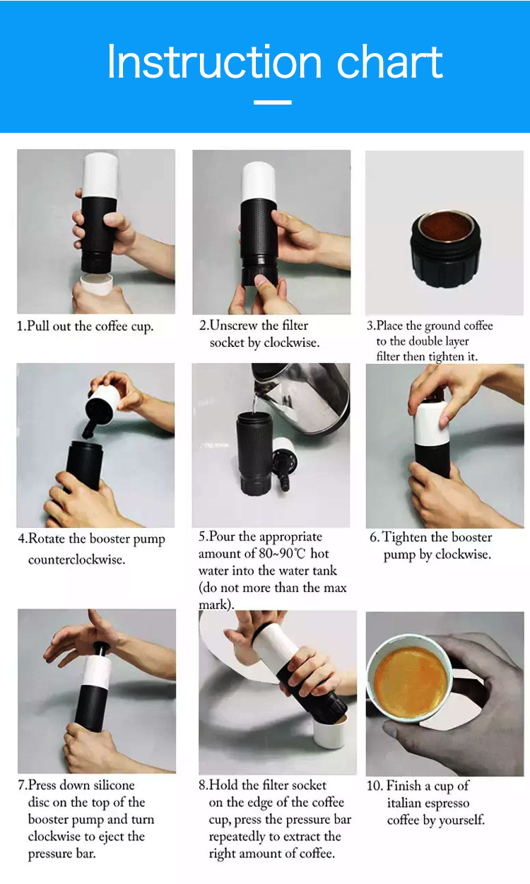 100% Hand medical grade material ABS 2 in 1 function portable mini USB coffee maker in China provides