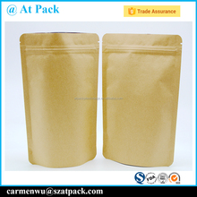 Customized food grade kraft paper mylar bags with ziplock