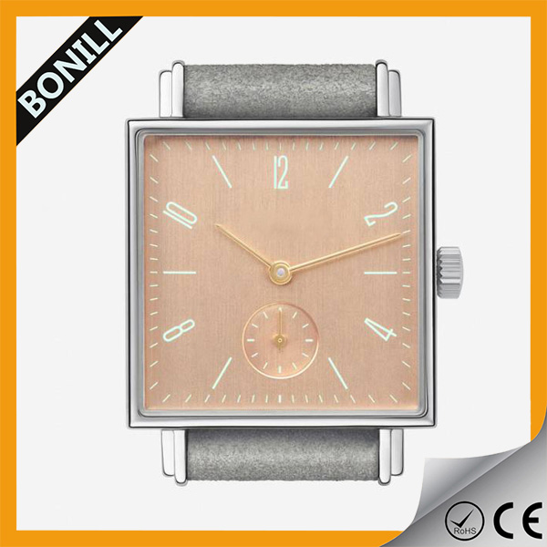 Fashion Square Alloy Case Small Chronograph Second Wrist Watch