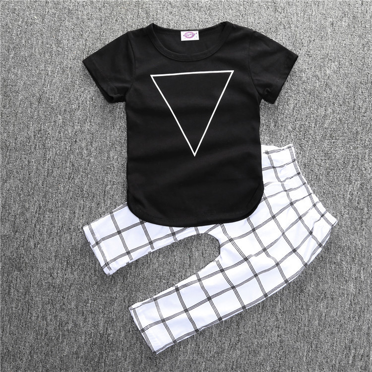 Black T Shirt White Pants Baby Boy Clothes Set