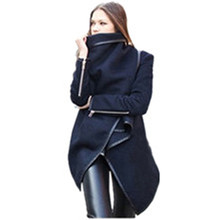 1pc Winter European and American style classic solid Slim woolen coat ladies clothing women jacket