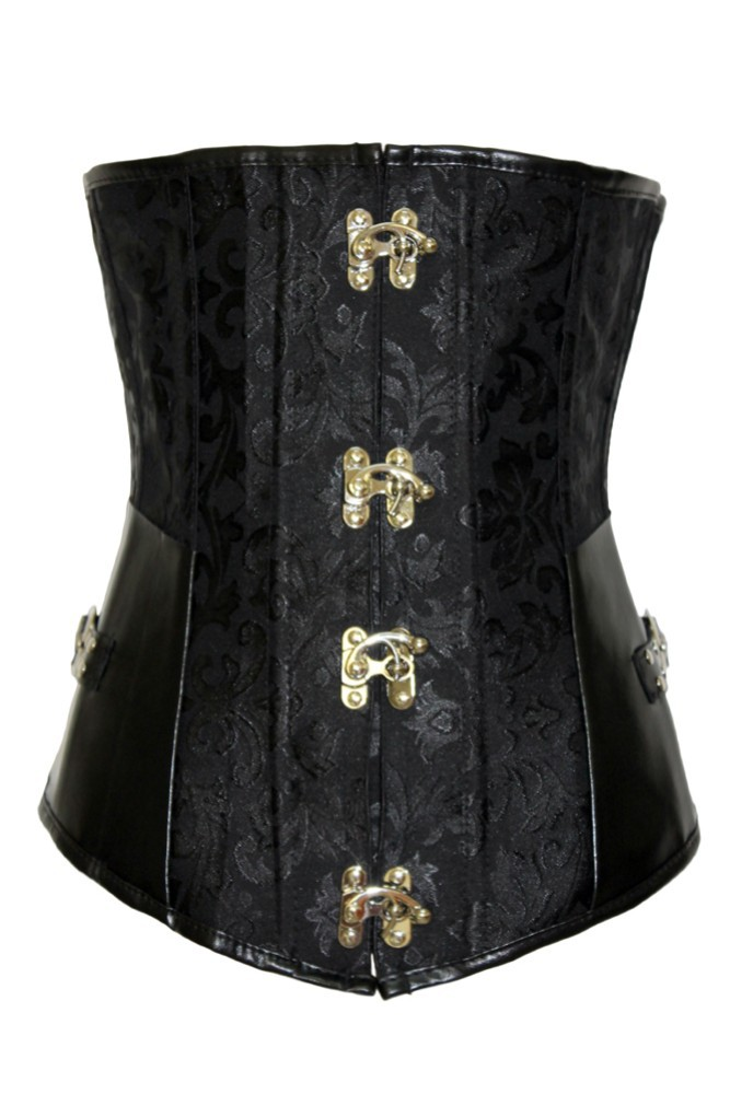 waist training sexy lingerie Black Brocade Corset Corselet with G-string Sexy Lace up with G-string espartilho e corselets