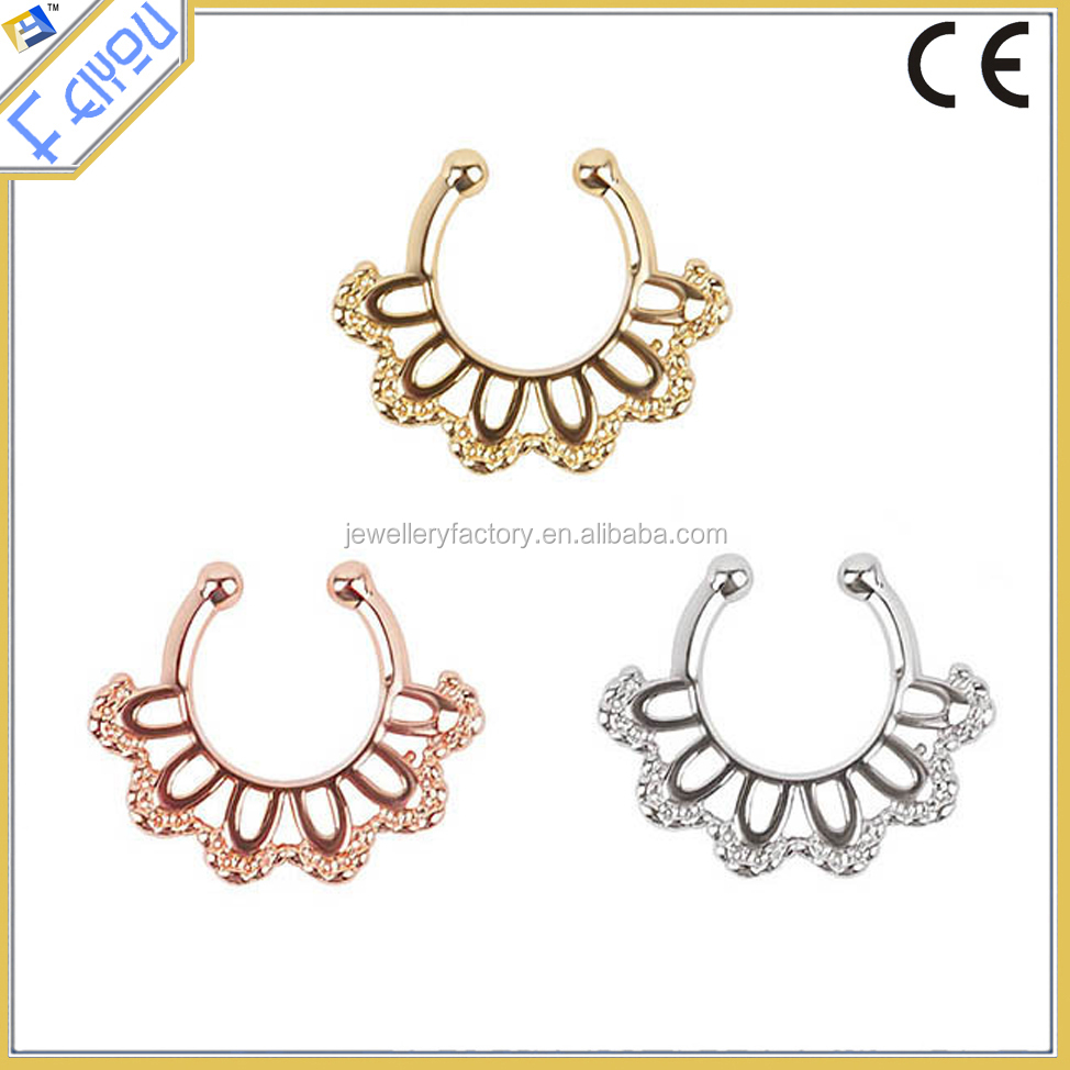 Clip On Fake Septum Clicker Non Piercing Nose Ring Hoop