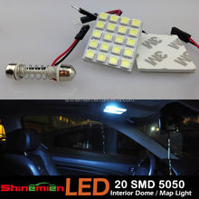 T10 + BA9S + Festoon Dome 5050 20 SMD LED Reading Lamps Panel Light 12V