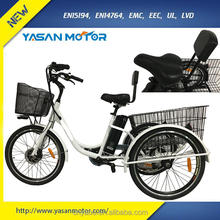 High Tensile Steel Frame Front 24 inch Three Wheel Electric Tricycle for Adults