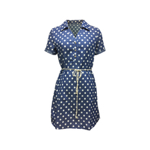 Fashion Collection 100% Cotton Women Ladies Girls Casual Short Sleeve Polka Dot Blue Denim Jeans Dress with Cotton Rope Belt