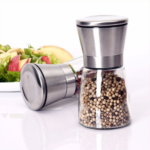 Glass salt and pepper grinder sets bottle with stand, salt pepper jar manufacturer