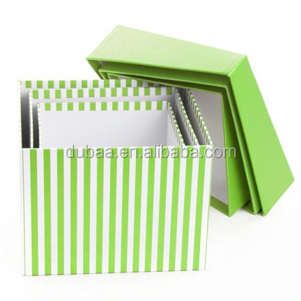 Decor Dropshipping Custom Printed Paper Gift Packaging Box in Stock - Pink/Green Stripe Pack of 3pc