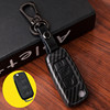 Black ABS carbon fiber keyless Fob protective plastic leather remote key case for Volkswagen with keychain and retail package