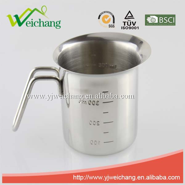 WCJ520 Top rated New design Kitchen Measuring cup, stainless steel milk cup silver 18/8
