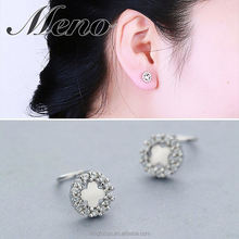 Meno S925 silver stud lady Korean style clover round with nice earrings