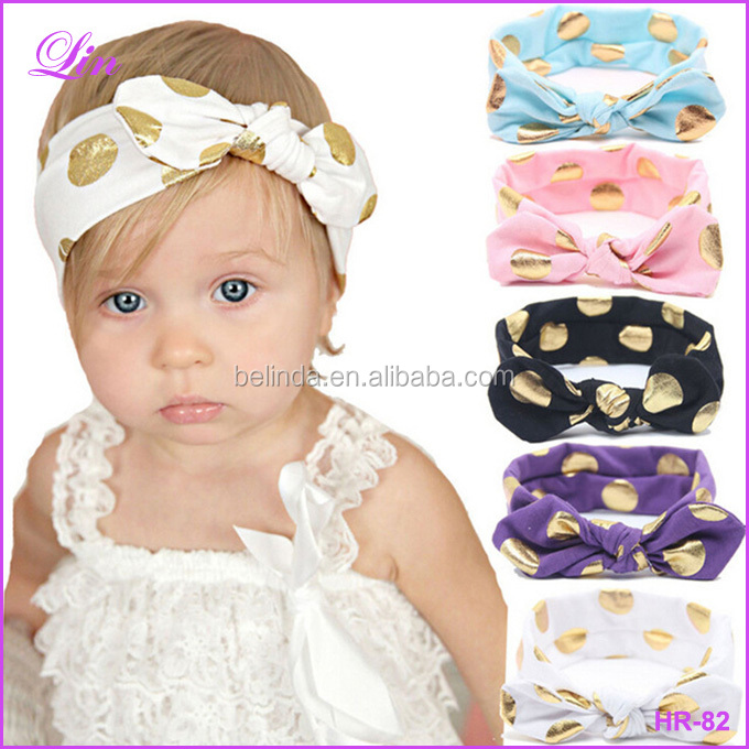Free Shipping by DHL/FEDEX/SF Gold Polka Dots Baby <strong>Headband</strong>