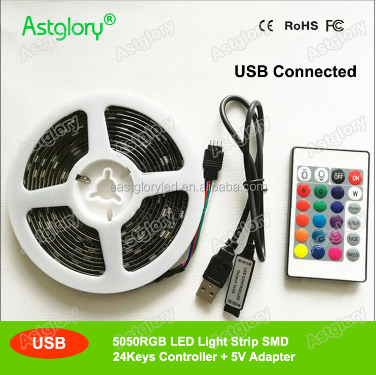 USB TV Strip 5050 RGB LED Light strip 1m 5V 24keys controller IP65 waterproof 30leds/<strong>m</strong>