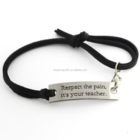 Cheap Free Samples Simple Inspirational Hand Made Stamped Brown Black Leather Bracelet For Teens