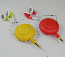 2016 New Products OEM MP3 Stereo Retractable Earphone With Mic
