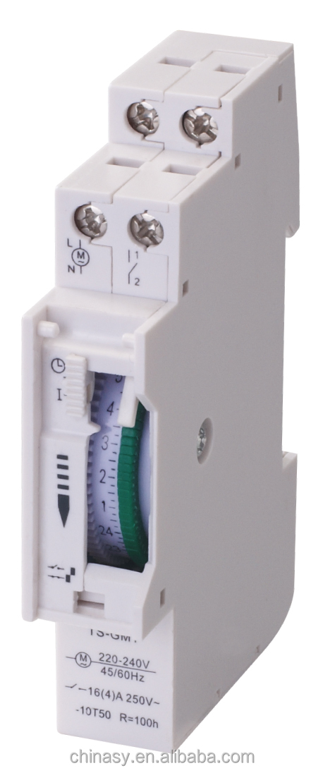 Industrial mechanical timer with 24 hours programming and 48 on/off programs