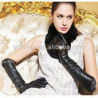 lace long women leather gloves elegant style
