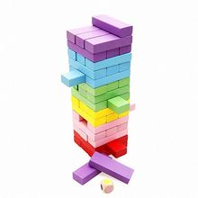 Various color wooden created building blocks educational toys wood baby block set