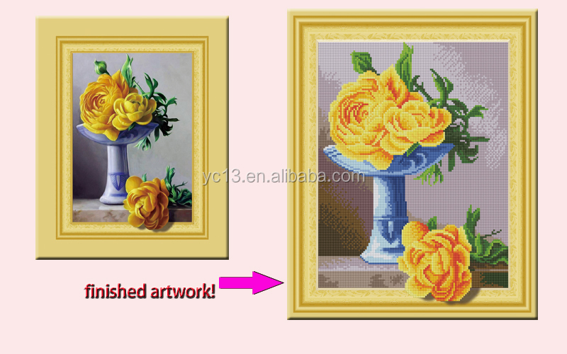 5D Diamond Painting Cross Stitch yellow rose on the cavase Diamond Embroidery Rhinestone Handwork Home Decor Gift