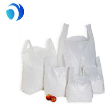 HDPE biodegradable custom printed large white all sizes PE t-shirt blue vest handle carrier carry out plastic shopping bag