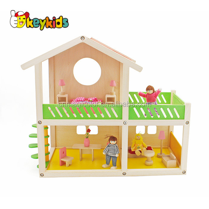 Wholesale lovely style wooden dollhouse toy miniature doll house for girls W06A259