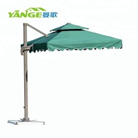 China green color waterproof outdoor umbrella with marble base