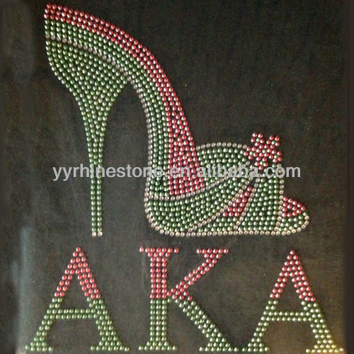 Alpha Kappa Alpha AKA with High Heels Wholesale Rhinestone Transfers Design