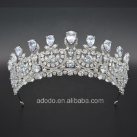 Environmental copper jewelry high quality zirconia tiaras pageant crowns wedding crown