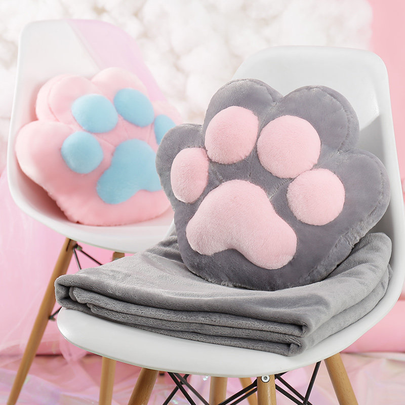 Wholesale cheap custom soft plush cat's paw 2 in <strong>1</strong> pillow coral fleece blanket
