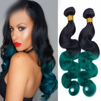 New Arrival Ombre 1B/Green 2T Color Body Wave 100% Human Hair Weft Extensions