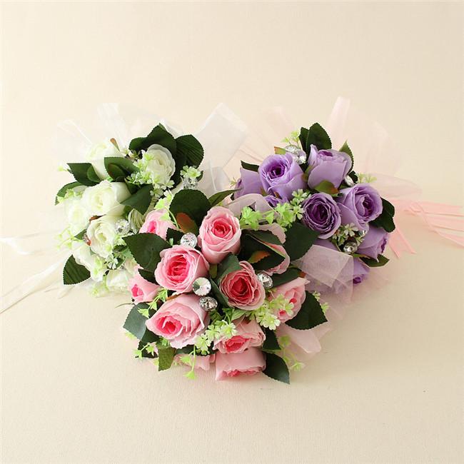 Decoration Artificial Flower Wedding Rose Bundle Bride Bouquet Wedding