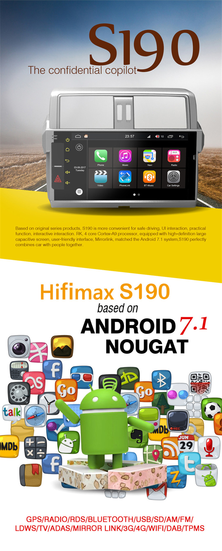 Hifimax Andriod 7.1 Touch Screen Car Radio GPS For Chevrolet Aveo (2011-2013) Multimedia With Free map 2G RAM