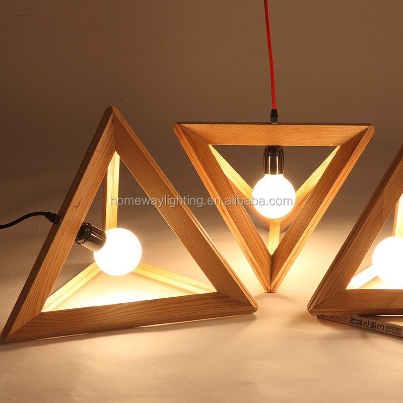 Nordic Style Triangle Flying Shuttle Wooden Pendant Lights
