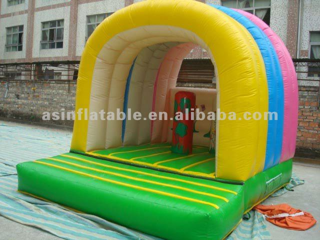 Safety&environmental rainbow moonwalk inflatable obstacle bouncer
