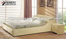Leather bed indonesian furniture prices cheap on sale PY-109C