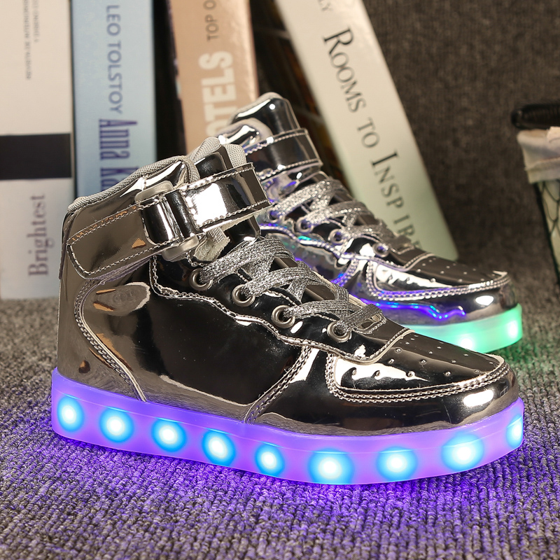 2016 hot sale unisex fashion high-cut children light led shoes USB charging colorful Flashing led shoes,kids light up shoes