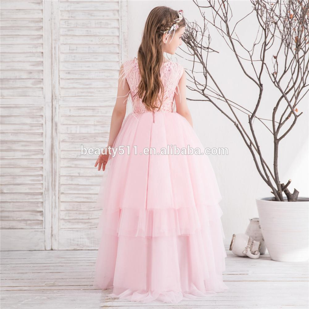 2018 Lovely kids Princess Flower Girl Dresses Lace Appliques evening party dresses for little girls pink flower girl dresses