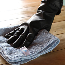 Heavy Duty Free sample Latex Large Flock Lined Black Household cleaning Dishwashing Rubber gloves