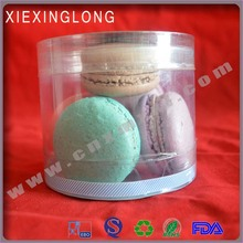 macarons and cakes and cookies and chocolates clear transparent plastic round boxes