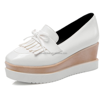Comfort young ladies wedge thick sole platform loafers with tassel lace knots casual loafers