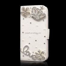 Custom 3D Bling bling Crystal phone case Crown Love Sunflower mobile phone leather case manufacturing