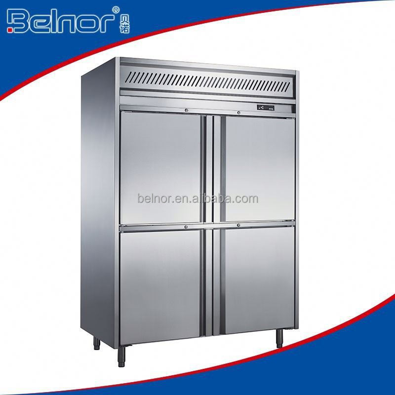 Hot sale 4 door 1200L household glass door upright freezer refrigerator with freezer showcase