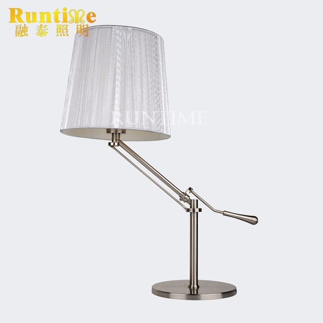 Swing Arm Chrome Metal Silver Thread Shade Study Table Lamp